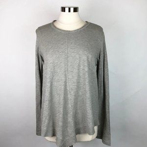 NWT Wilt Slanted Hem Bell Sleeve Grey Crew Top M